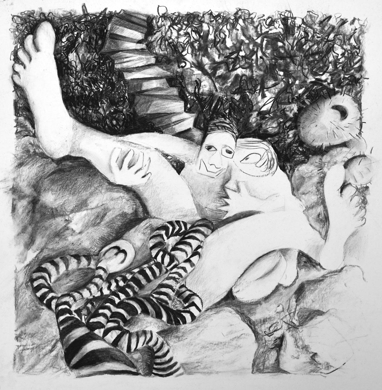 ca-Pique_patrick-simkins_artist_drawing_charcoal-fusain_on_paper_Paris_2021